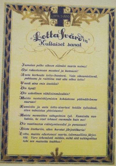 10572 Lotta Svärdin Kultaiset sanat -taulu, repro